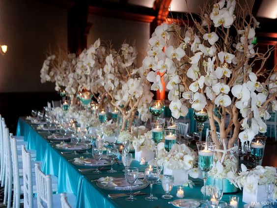 tiffany-blue-and-white-tabletop-manzanita-and-orchids