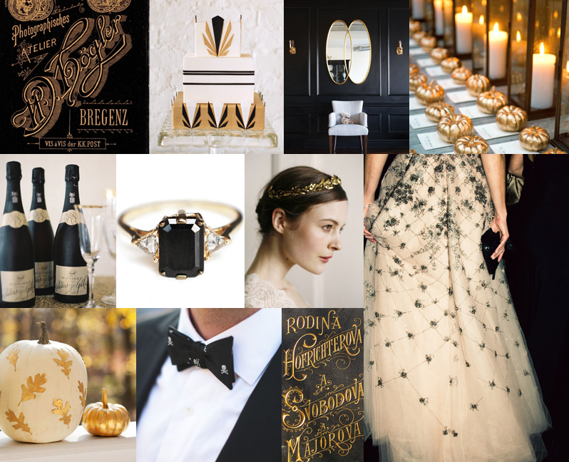 trang trí đám cưới đặc sắc với đen, vàng