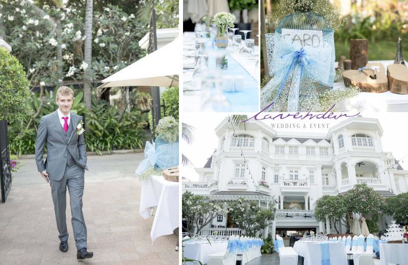 trang trí tiệc cưới tại sân nhà
